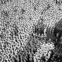 Pacific Theater, WWII (Admiral Mountbatten addresses crew of USS Saratoga) (1942-45) by Wayne Miller