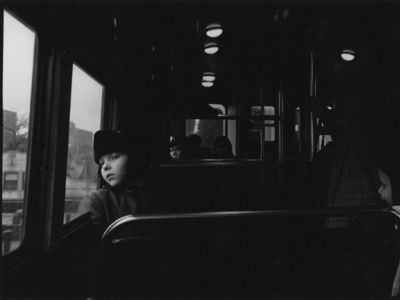 Untitled (boy looking out bus window) (1960s-early 1970s) by Masahiro So