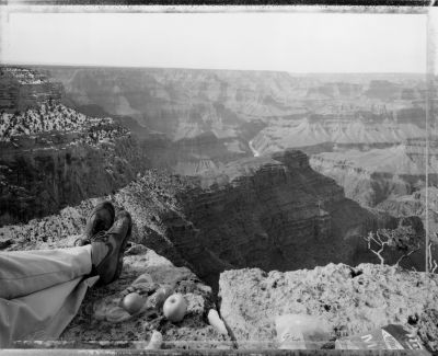 Picnic on the edge of the rim, Grand Canyon, 2/12/83 (1983) by Mark Klett