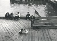 Untitled (Dock on East River, now the U.N. Plaza) (1938) by André Kertész