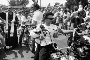 Seventeenth Annual World's Largest Motorcycle Blessing, St. Christopher Shrine, Midlothian, Illinois (1963-1967) by Danny Lyon