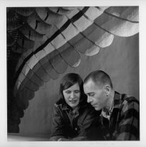 Mark Adams, his tapestry and his wife Beth Van Hoeson (1963) by Imogen Cunningham