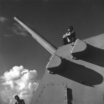 Pacific Theater, WWII (man on launcher) (1942-45) by Wayne Miller