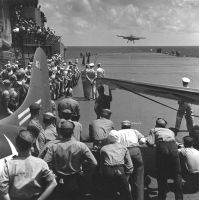 Pacific Theater, WWII (aircraft carrier deck) (1942-45) by Wayne Miller