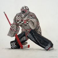 Tapa Cloth Goalie #1 (2018) by Blakely Dadson