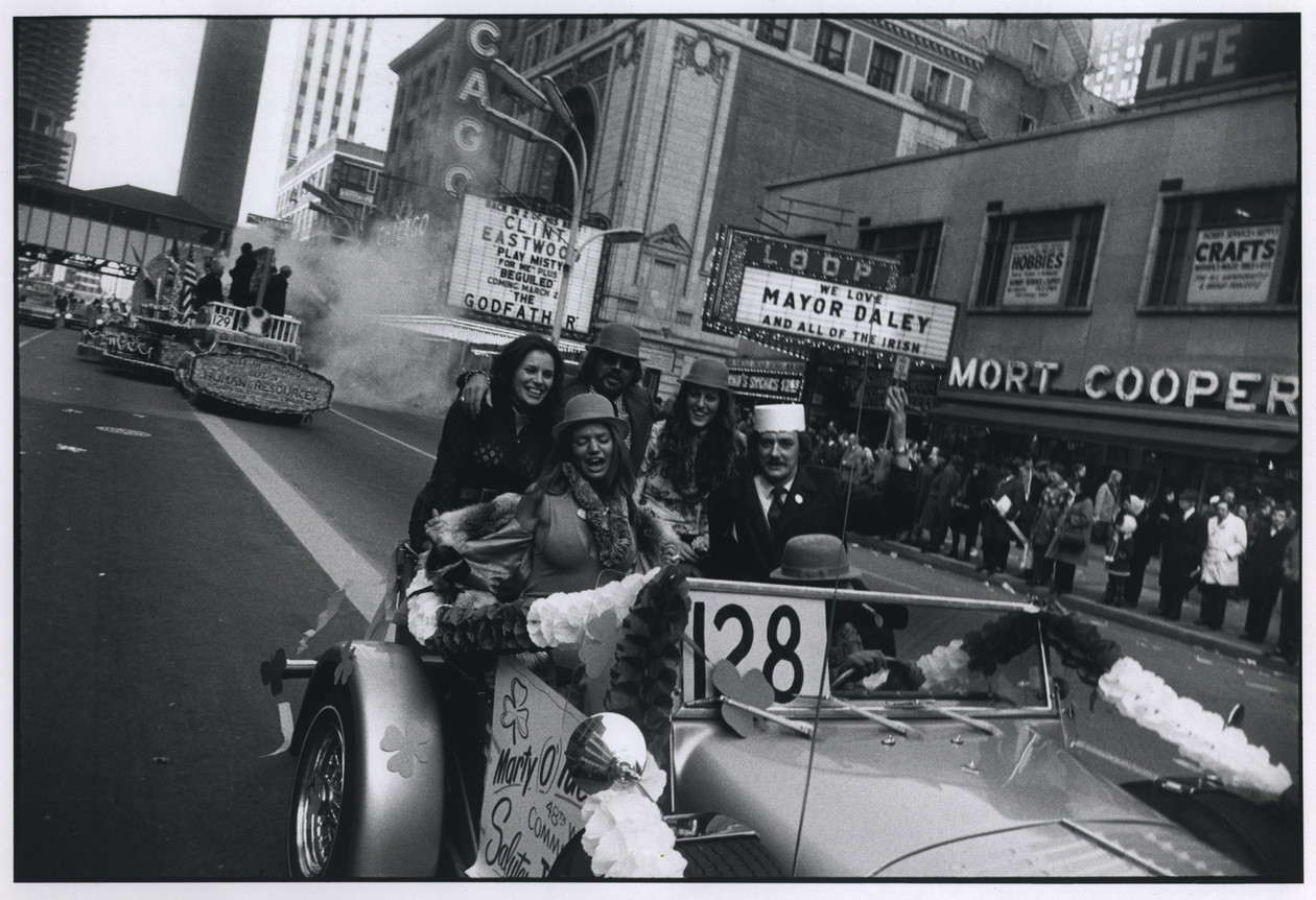 Untitled (St. Patrick's Day Parade, State St., Chicago) (1971) by Garry Winogrand