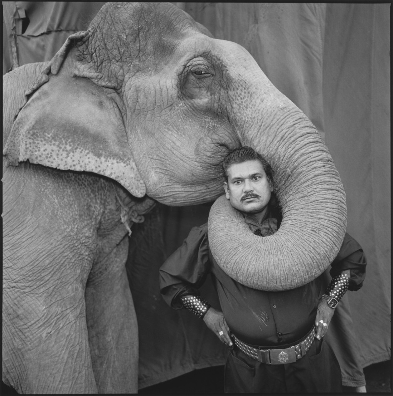 Ram Prakash Singh With his Elephant Shyama, Great Golden Circus, Ahmedabad, India (1989) by Mary Ellen Mark