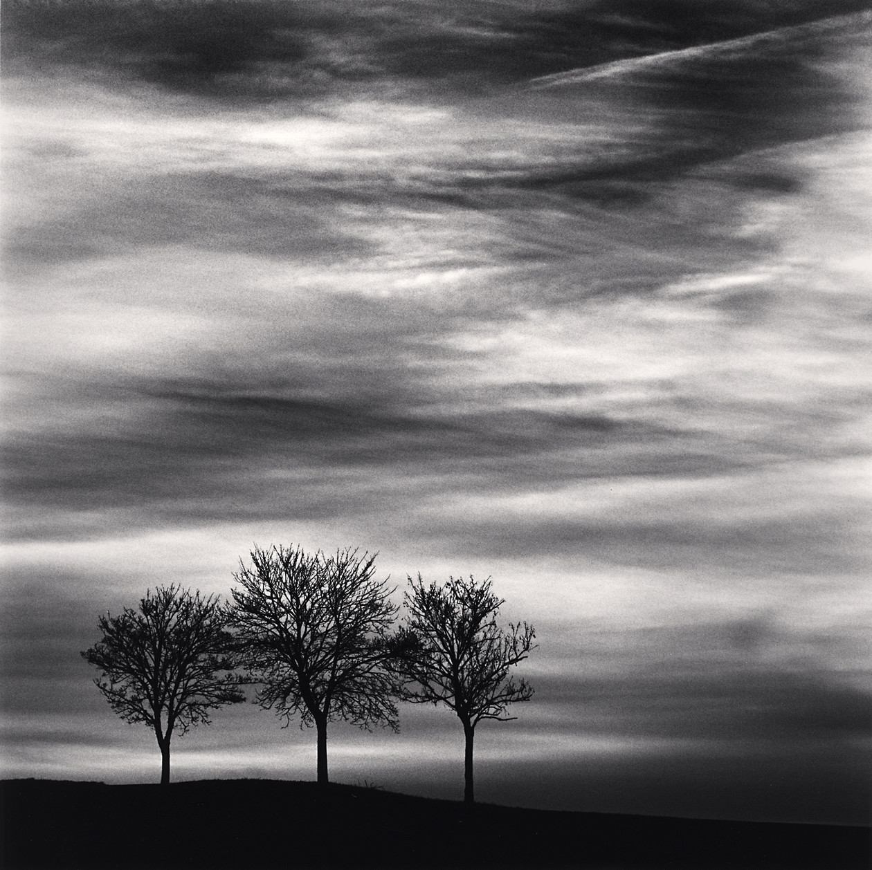 Three Trees at Dusk, Fain les Moutiers, Bourgogne (2013) by Michael Kenna