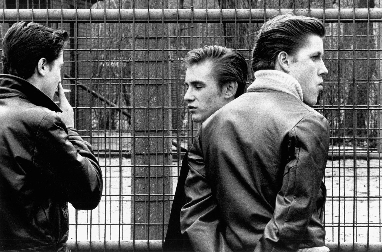 From The Age of Adolescence (three boys in leather jackets) (1959) by Joseph Sterling