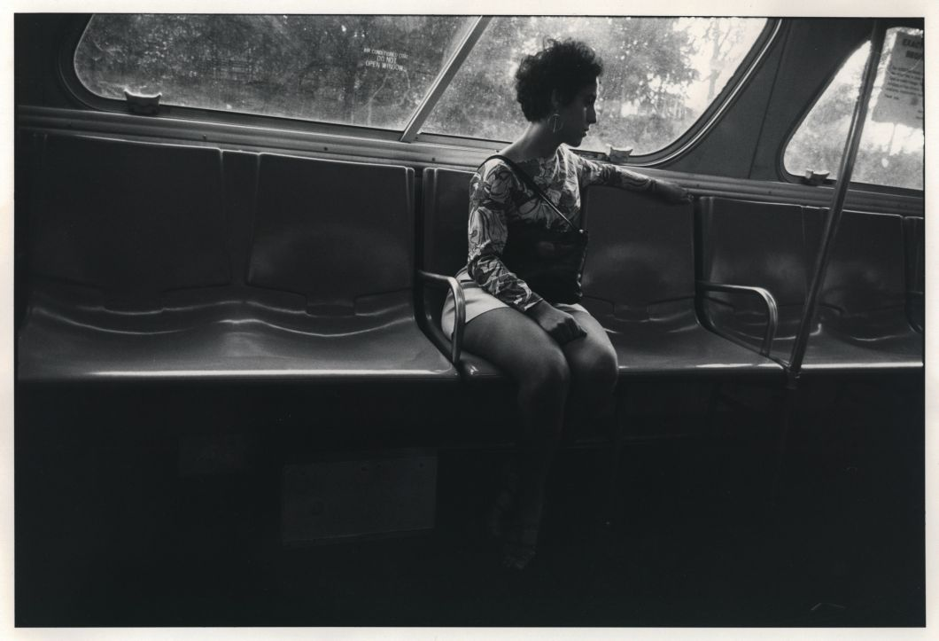 Untitled (Woman in Mini-Skirt Sitting on Bus) (1969) by Garry Winogrand