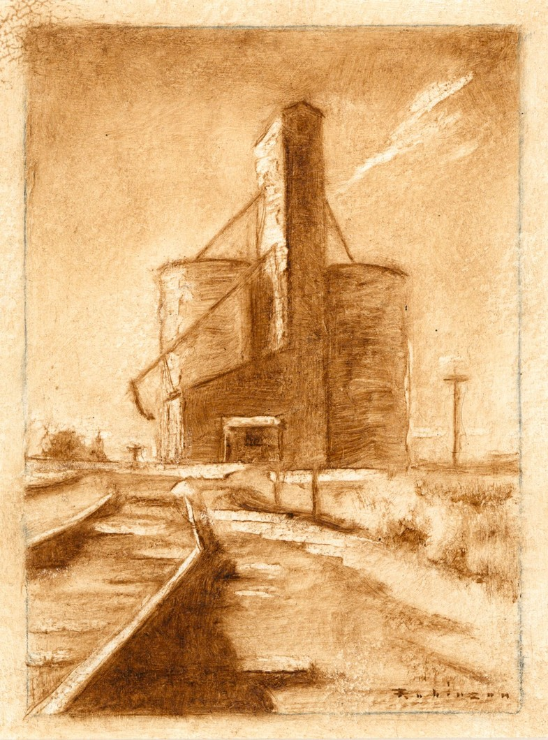 Elevator and Railroad Tracks (study) (2009) by Daniel Robinson