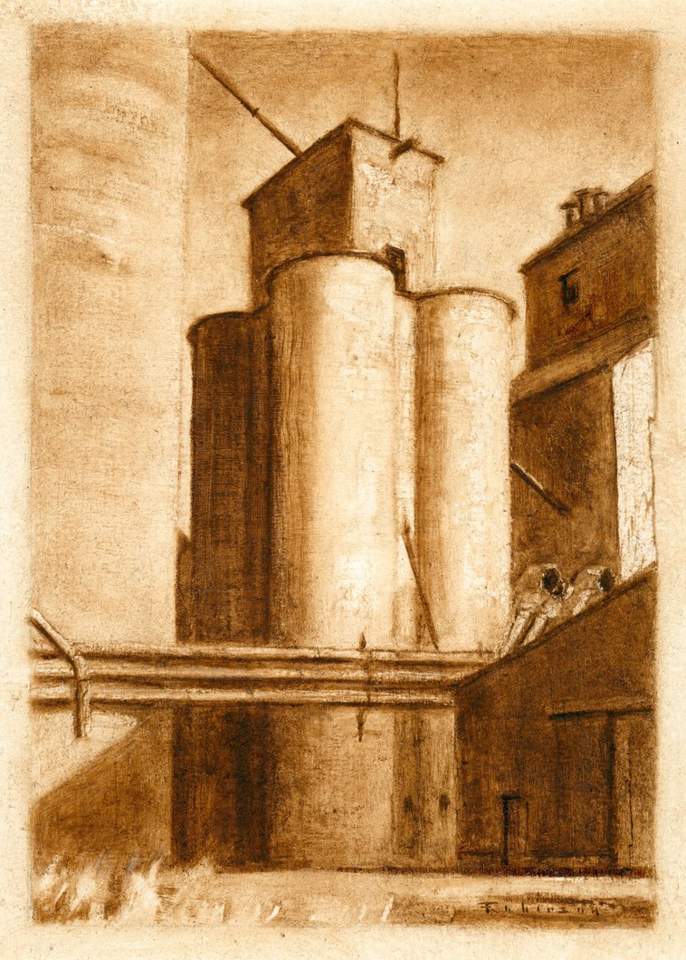 Wheat and Barley Elevators (study) (2009) by Daniel Robinson