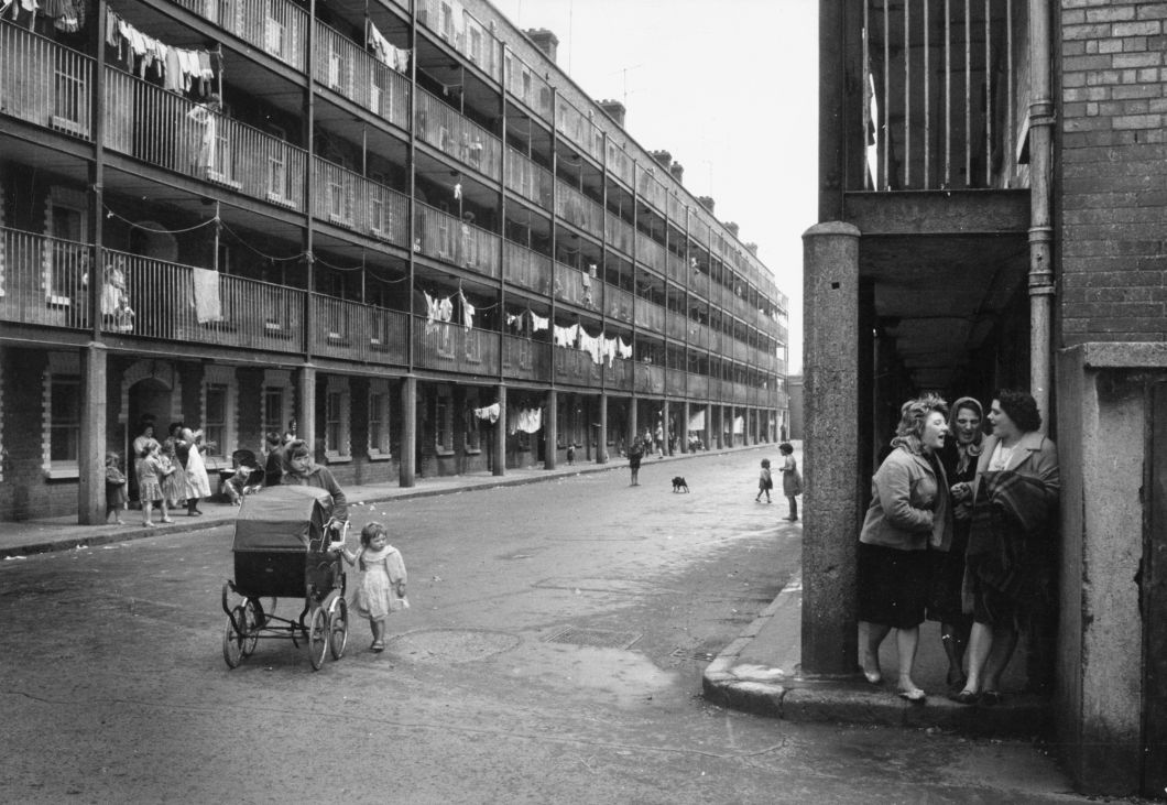 Ireland, Three women in their cups, Dublin tenement building (1950s) by Brian Seed