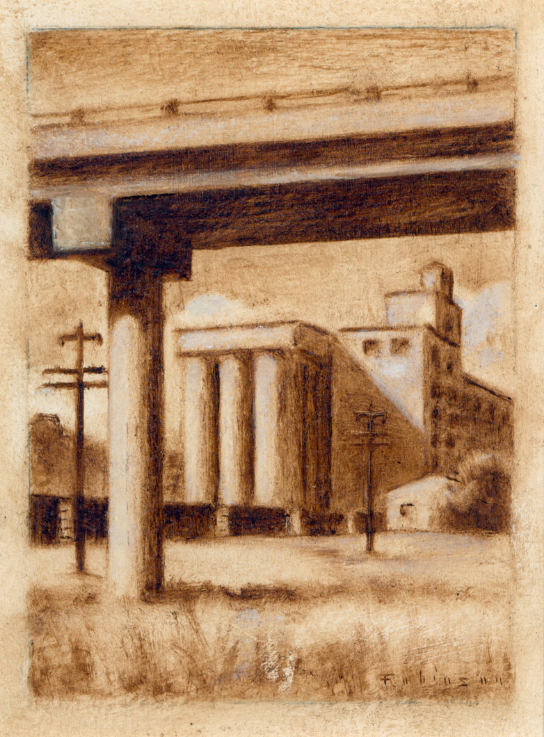Flour Mill and Train (study) (2009) by Daniel Robinson