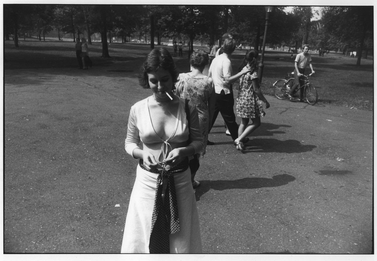 Untitled (Woman Smoking in Park) (1969) by Garry Winogrand