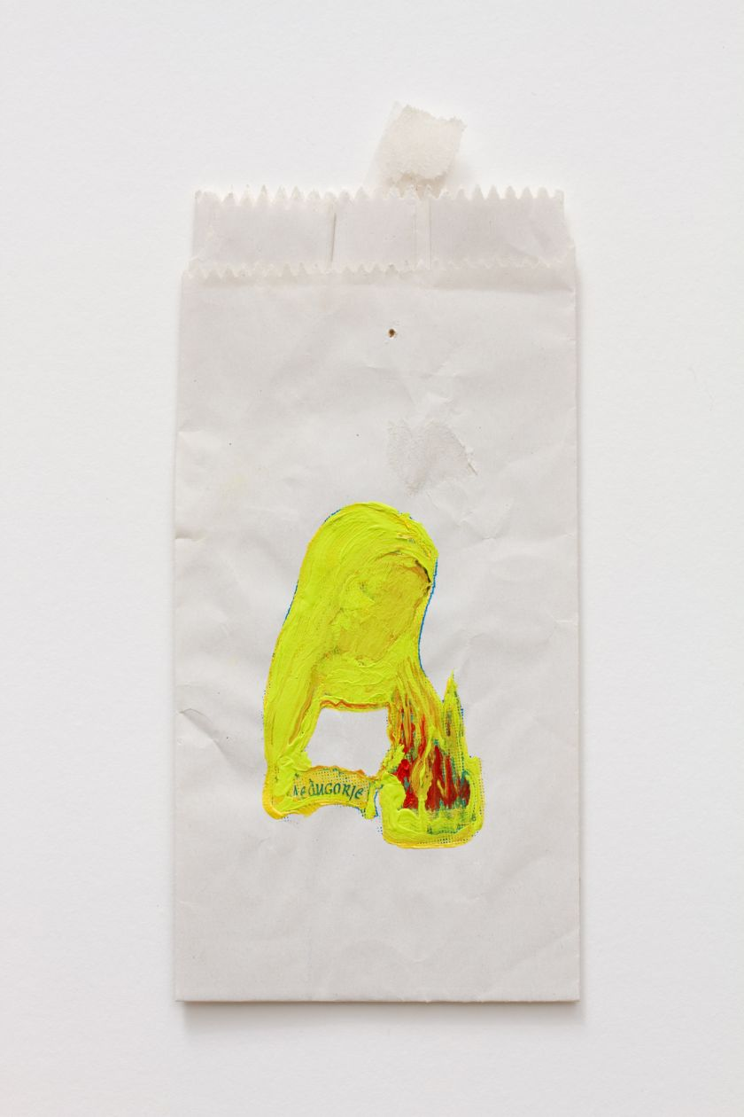 Visible, permanent, and indestructible (Neon Green Mary with Tape) (2014) by Hayley Barker