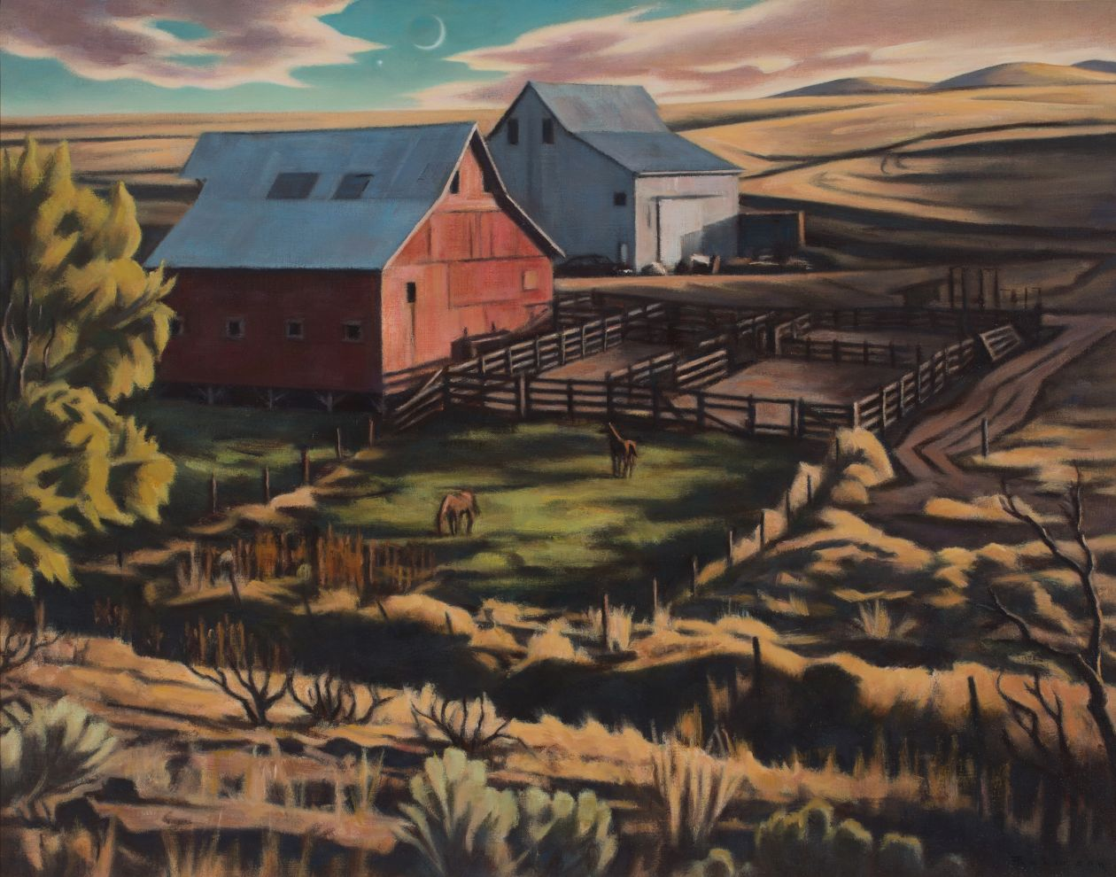 Barns at Twilight (2019) by Daniel Robinson