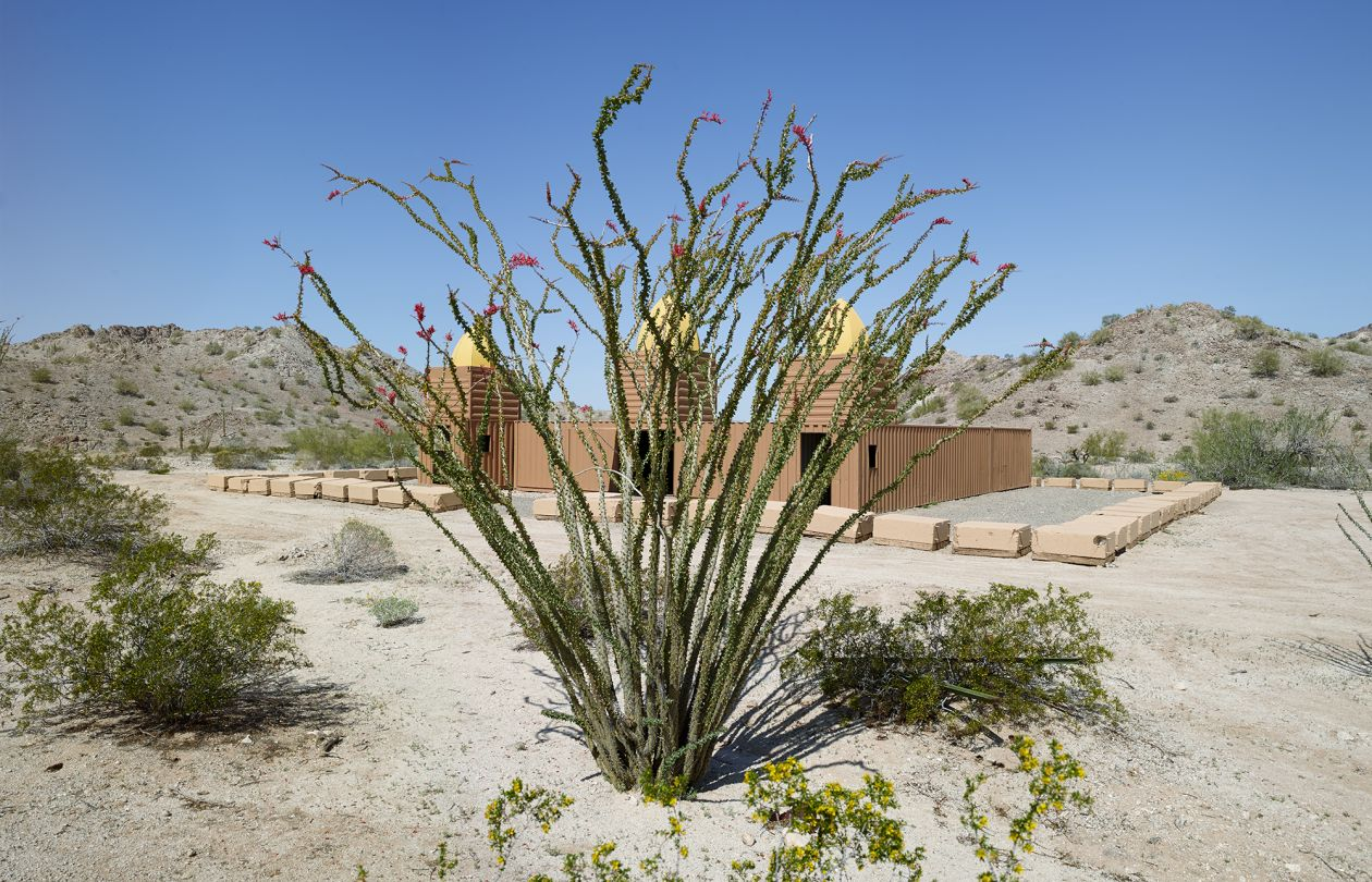 "Ocotillo and Mosque made from shipping containers, ""Combat Village,"" Marine Training Camp in the Copper Mountains (2013) by Mark Klett"