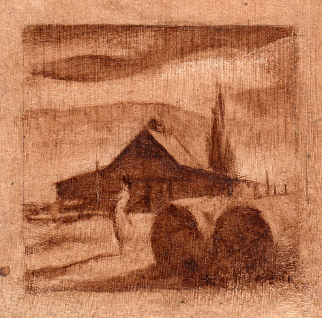 Woman and Barns (study) (2015) by Daniel Robinson