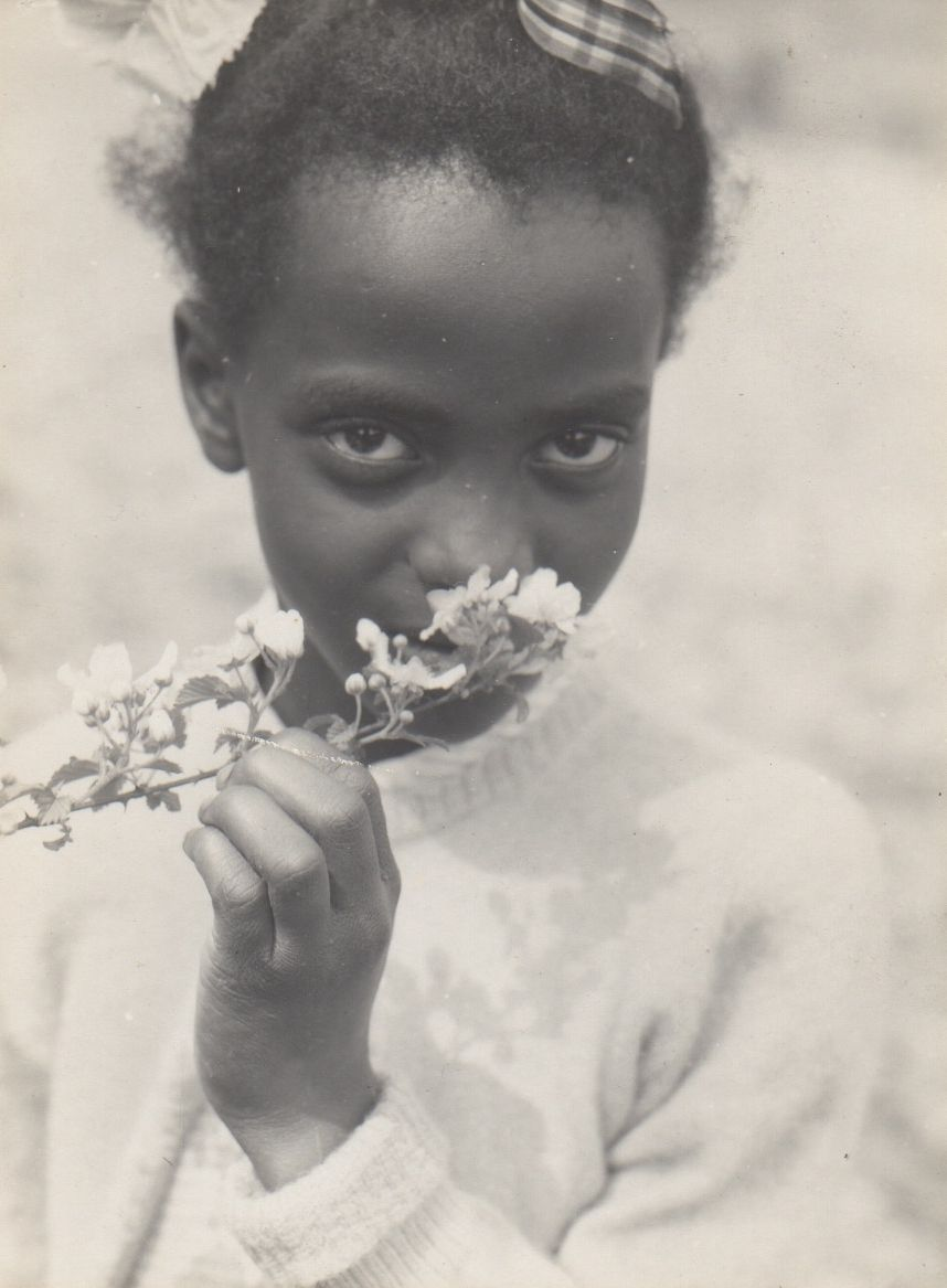 [Child with Apple Blossoms - variant] (Tennessee) (1948) by Consuelo Kanaga