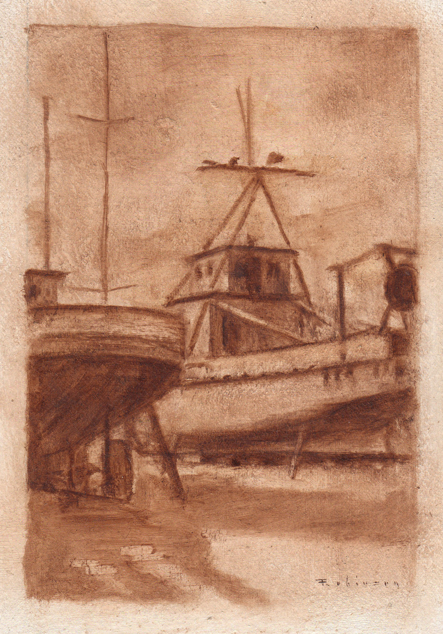 Boats on Jacks (study) (2010) by Daniel Robinson