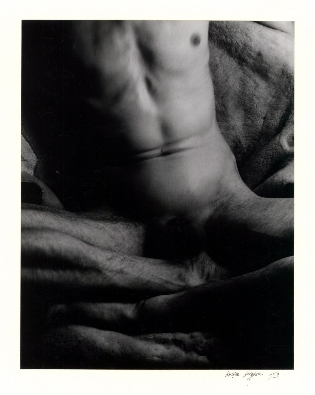 Untitled self-portrait [Male nude sitting] (1959) by Walter Chappell