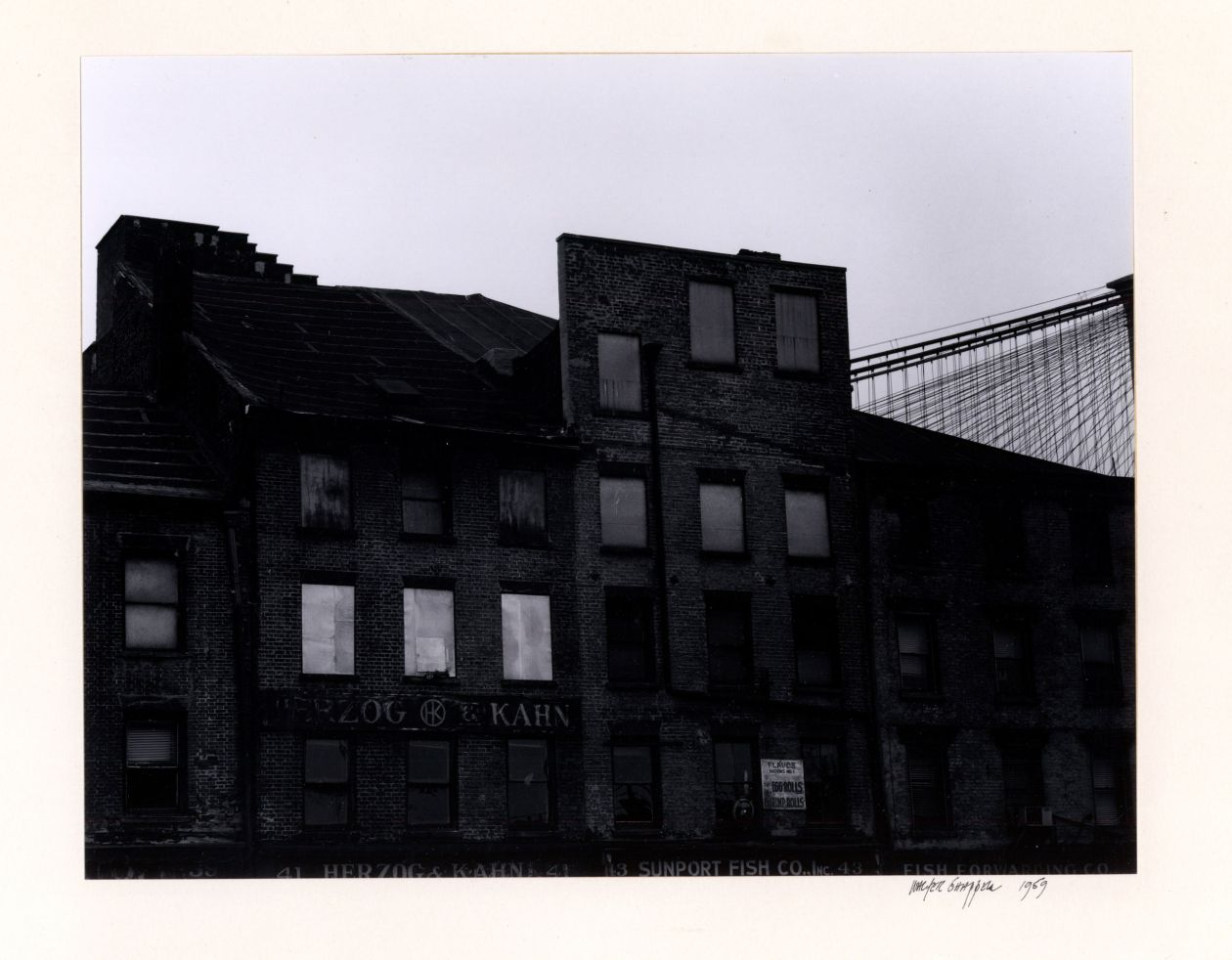Untitled [Building Facade and Brooklyn Bridge] (1959) by Walter Chappell